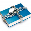 Censorship concept with books and chains on white — Stock Photo #6280652