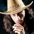 Man in cowbow hat smoking — Foto Stock
