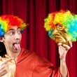 Actor with maks in funny theater concept — Stock Photo #6336182