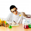 Chemist in the lab experimenting with solutions — Stock Photo #6351072