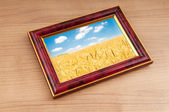 Wheat field in the picture frame — Stock fotografie
