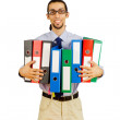 Businessman with many folders on white — Stock Photo