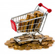 Gold coins in shopping cart — 图库照片