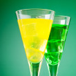 Colourful cocktail in glasses with ice — Stock Photo #6595085