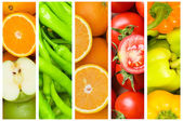 Collage of many fruits and vegetables — Foto de Stock