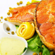 Stock Photo: Roasted salmon in plate