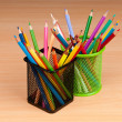 Colourful pencils on the background - Stock Photo