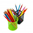 Colourful pencils isolated on the white — Stock Photo
