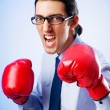 Businessman with boxing gloves — Stock Photo #6610456