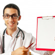 Doctor sitting at the desk on white — Stock Photo #6610771