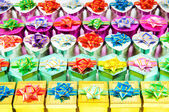 Many colourful gift boxes — Stock Photo