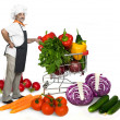 Smiling chef with fresh ripe vegetables — Stock Photo
