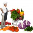 Smiling chef with fresh ripe vegetables — Stock Photo #5580217