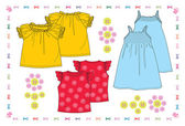 Summer collection with baby dresses — Stock Vector