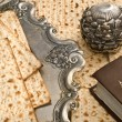 Stock Photo: Matzbread for passover celebration with torah