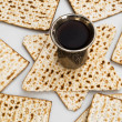 Matza bread for passover celebration and red wine — Stock Photo #5812978