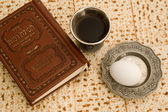 Old book,matzot and red wine — Stock Photo