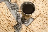 Matza bread for passover celebration and red wine — Stock Photo