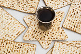 Matza bread for passover celebration and red wine — Stock Photo