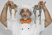 Chef preparing crabs — Stock Photo
