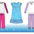 Stock Vector: Pajamas for girl