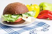 Dietary sandwich on white plate — Stock Photo