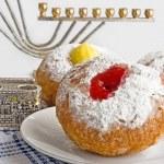 Donut for Jewish hanukkah — Stock Photo #5840550