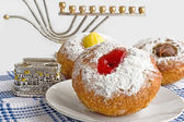 Donut for Jewish hanukkah — Stock Photo