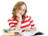 The beautiful blonde student — Stock Photo