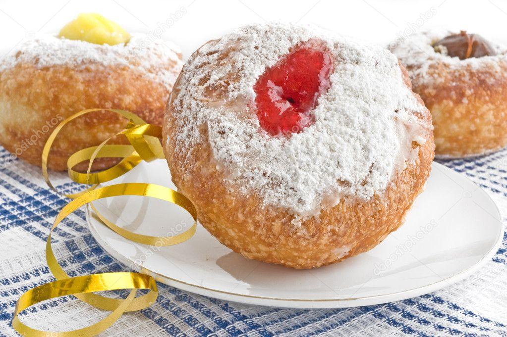 Donut for Jewish hanukkah — Stock Photo © grafnata #5840544