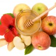 Stock Photo: Isolated honey with ripe apple for Rosh Hashana