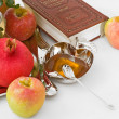 Stock Photo: Pomegranates, torah,honey with ripe fresh apple for Rosh Hashana
