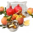Pomegranates,honey with ripe fresh apple for Rosh Hashana — Stock Photo #6536492