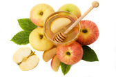 Isolated honey with ripe apple for Rosh Hashana — Stock Photo