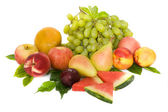 Ripe pears, peach , green grape and watermelon — Foto de Stock