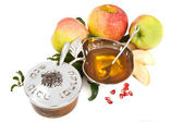 Isolated honey with ripe fresh apple for Rosh Hashana — Stock Photo
