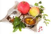 Pomegranates, honey with ripe fresh apple for Rosh Hashana — Stockfoto