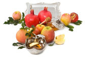 Pomegranates,honey with ripe fresh apple for Rosh Hashana — Stock Photo