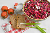Tradition ukrainian food with bread and salt — Stock Photo