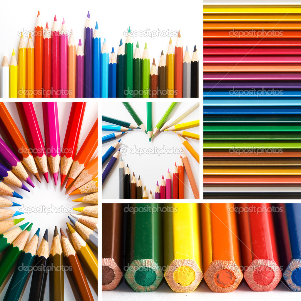 Color pencils, collage  Stock Photo #6635845