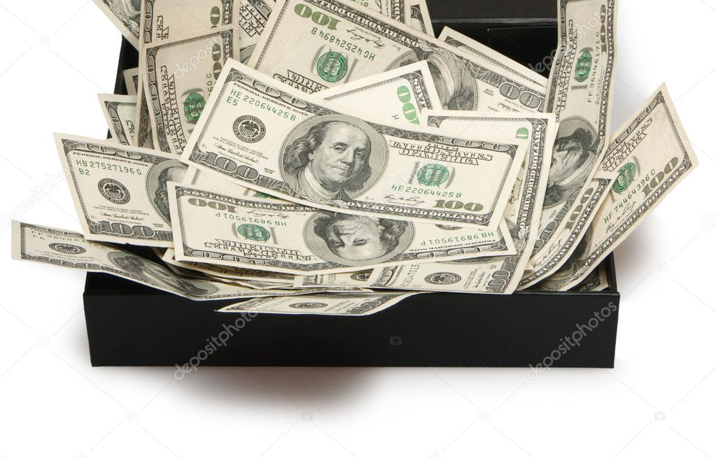 Dollars in black box, money — Stock Photo #6733418