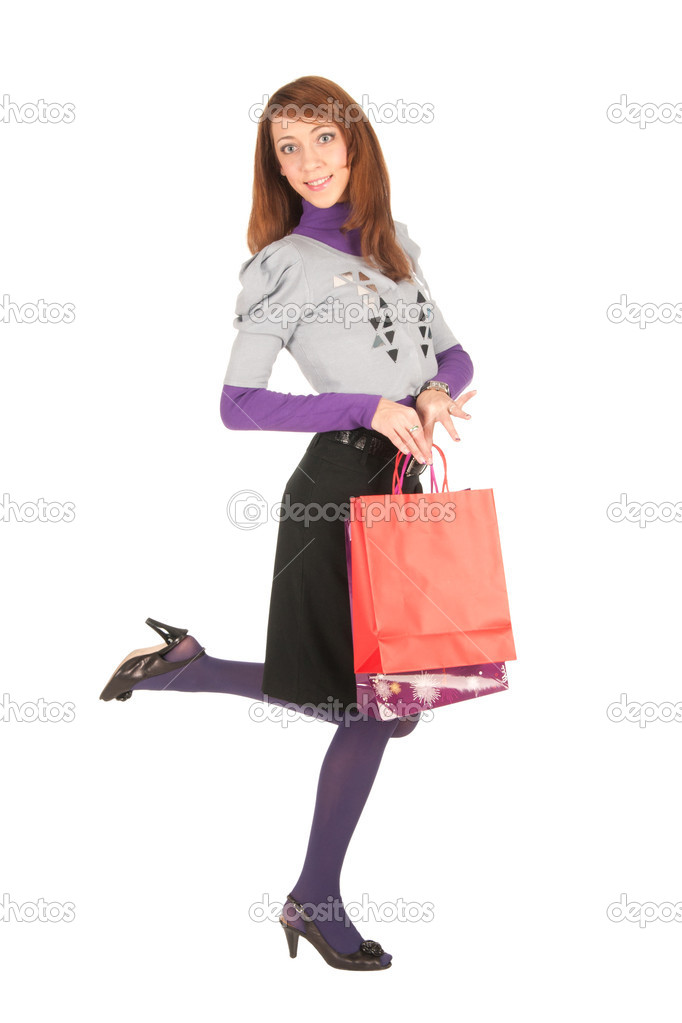 Young woman with  bags isolated on white — Stock Photo #6735602