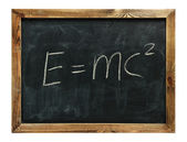 Text e=mc2 drawn on a chalkboard — Stock Photo