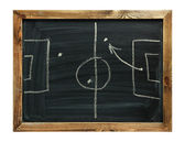 Soccer formation tactics on a blackboard — Stock Photo