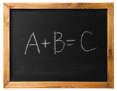 A B C on black chalk board — Stock Photo