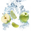 A background of bubbles forming in blue water after apple are dr - Stock Photo