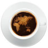 Cup of coffee with worldmap made of bubbles — Stock Photo