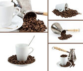 Collage coffee make, coffee grains, cup of coffee on white backg — Stock Photo