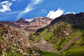 Mountain landscape in hdr. Belagorka Gorge, Kyrgyzstan — Stock Photo