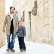Father and son outdoors in city — Stock Photo